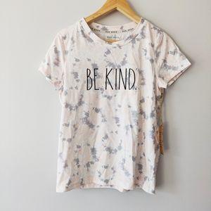 "Rae Dunn ""Be Kind"" Shirt Pink Grey Tie Dye NWT"